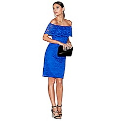 Star by Julien Macdonald - Blue lace bardot neck knee length bodycon dress