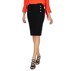 Star by Julien Macdonald - Black button front knee length skirt