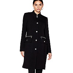 Star by Julien Macdonald - Black longline popper trim coat