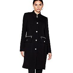 Star by Julien Macdonald - Black longline popper trim coat