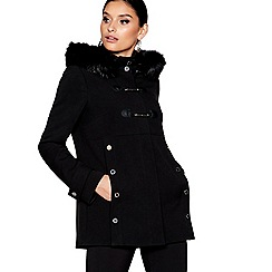 Star by Julien Macdonald - Black faux fur hood duffle coat