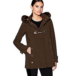 Star by Julien Macdonald - Khaki faux fur trim hood duffle coat