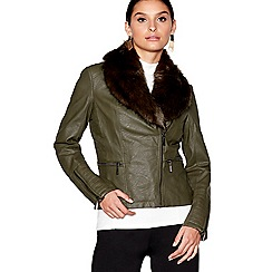 Star by Julien Macdonald - Dark olive faux fur collar jacket