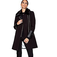 Star by Julien Macdonald - Black faux fur collar biker coat