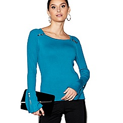Star by Julien Macdonald - Turquoise flared sleeves square neck top