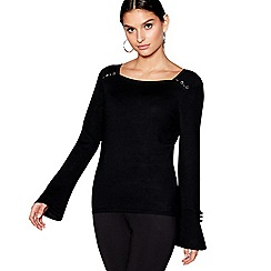 Star by Julien Macdonald - Black flared cuff square neck jumper
