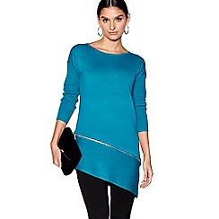 Star by Julien Macdonald - Turquoise zip detail asymmetric hem jumper