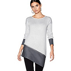 Star by Julien Macdonald - Grey zip detail asymmetric hem jumper