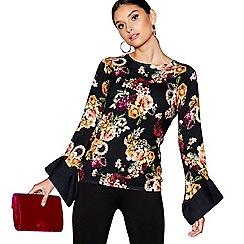 Star by Julien Macdonald - Black floral print frilled sleeves jumper