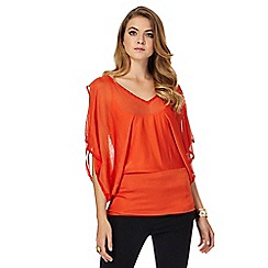 Star by Julien Macdonald - Orange V neck cold shoulder batwing top