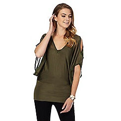 Star by Julien Macdonald - Khaki V neck cold shoulder batwing top