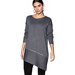 Star by Julien Macdonald - Dark grey zip detail asymmetric hem jumper