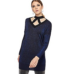 Star by Julien Macdonald - Blue metallic longline jumper