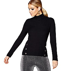 Star by Julien Macdonald - Black military button roll neck jumper