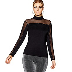 Star by Julien Macdonald - Black mesh and diamante high neck jumper