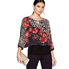 Star by Julien Macdonald - Multi short sleeves floral animal print top
