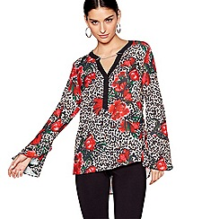 Star by Julien Macdonald - Red floral animal chain long sleeves blouse
