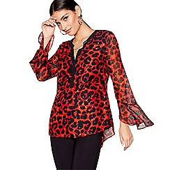 Star by Julien Macdonald - Red animal print chain long sleeves blouse