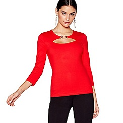 Star by Julien Macdonald - Red long sleeves ponte peekaboo top