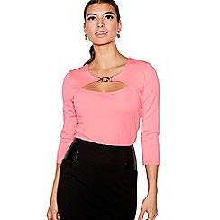 Star by Julien Macdonald - Pink long sleeves ponte peekaboo top