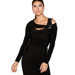 Star by Julien Macdonald - Black jersey cold shoulder top