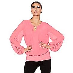Star by Julien Macdonald - Dark pink pleat sleeve top