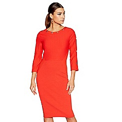 Star by Julien Macdonald - Red round neck 3/4 sleeve knee length bodycon dress