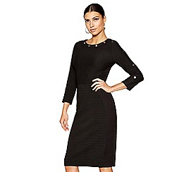 Star by Julien Macdonald - Black round neck 3/4 sleeve knee length bodycon dress