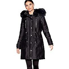 Star by Julien Macdonald - Black faux fur hooded parka jacket