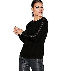 Star by Julien Macdonald - Black leather sleeve jumper
