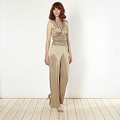 Star by Julien Macdonald - Designer gold metallic jersey jumpsuit