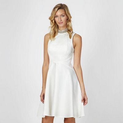 Designer ivory jacquard neck trim dress