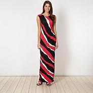 Designer pink triple striped maxi dress