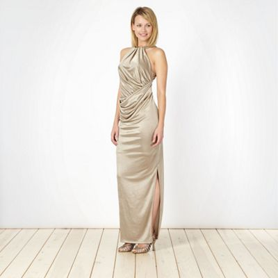 Designer gold metallic maxi dress