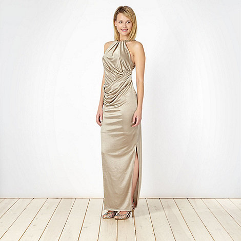 Star by Julien Macdonald - Designer gold metallic maxi dress