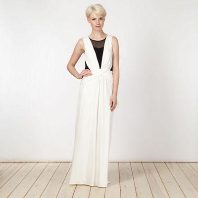 Designer ivory mesh insert maxi dress