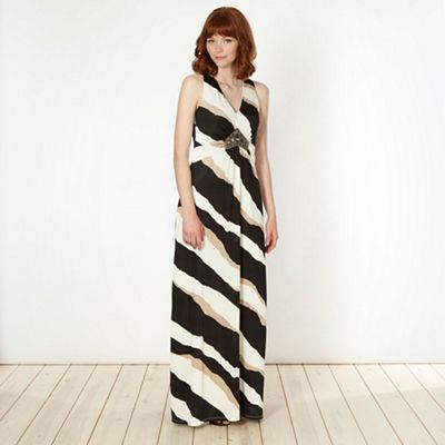Designer natural triple striped embellished maxi dress