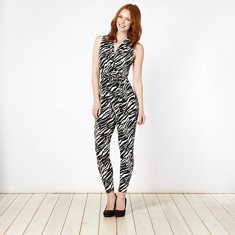 Star by Julien Macdonald - Designer black zebra print jersey jumpsuit