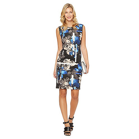 Star by Julien Macdonald - Designer black floral lines print scuba dress
