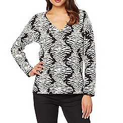 Star by Julien MacDonald - Designer black zebra knitted jumper