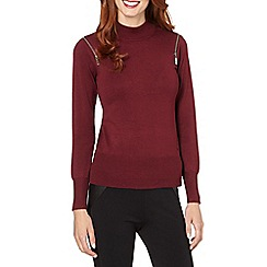 Star by Julien MacDonald - Designer dark red zip shoulder turtle neck jumper