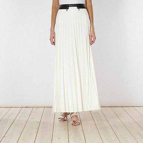 Star by Julien Macdonald - Designer ivory pleated zip detail maxi skirt