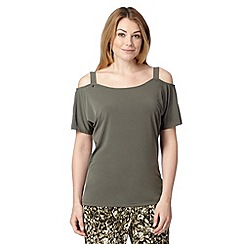 Star by Julien MacDonald - Khaki jersey cold shoulder top
