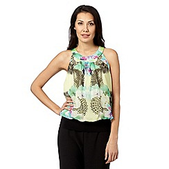 Star by Julien Macdonald - Designer green floral banded hem top