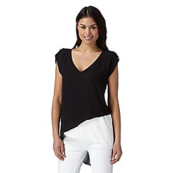 Star by Julien MacDonald - Designer black asymmetric V neck top