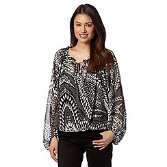Star by Julien MacDonald - Designer black monochrome tribal gypsy top