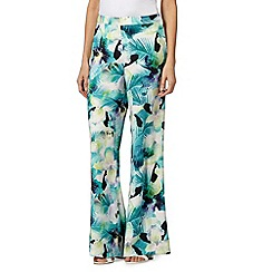 Star by Julien MacDonald - Designer green tropical pansy palazzo trousers