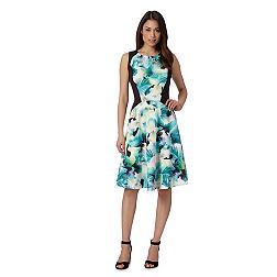 Designer green tropical pansy dress