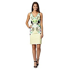 Star by Julien Macdonald - Designer yellow mirror floral form fitting dress