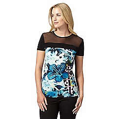 Star by Julien Macdonald - Designer black floral mosaic top